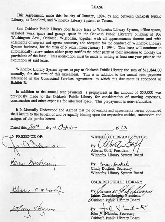 Lease Agreement Oshkosh Public Library