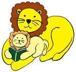 Mama lion reading to cub