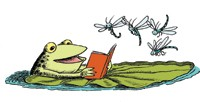 Frog reading on lily pad