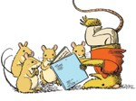 Possum and mice reading