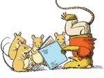 Possum and mice reading