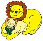 Mama lion reading to cub