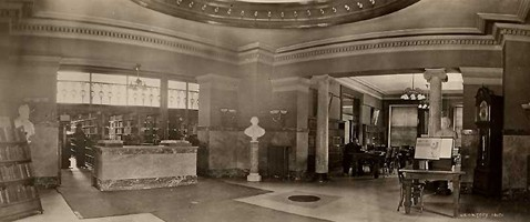 Delivery Desk and East Reading Room, circa 1915.